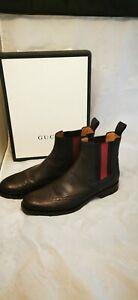 GUCCI Cocoa Martins Navy Web Pebble-Grain Leather Brogue Boots $975 sz 11