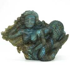 "5.15""Mermaid Figurine Flash Labradorite Carved Gemstone Animal Statue Home Decor"