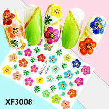 Nail Art Water Decals Stickers Transfers Summer Flower Power Vintage (XF3008)