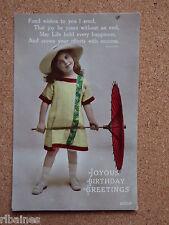 R&L Postcard: Tinted Portrait of Edwardian Child/Girl Chinese Parasol/Fashion