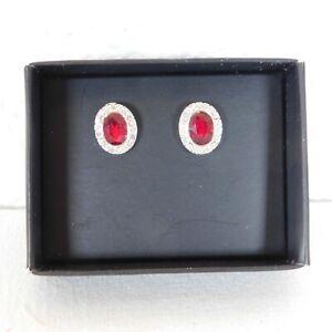 Avon Ravishing Red Stud Earrings Oval Shape Rhinestones Original Box Pierced New