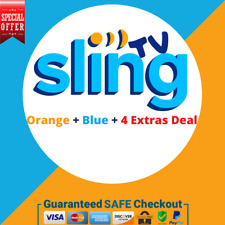 SlingTV Orange +  Blue + 4 Extras Deal 2 YEAR WARRANTY 😲 SUPER FAST DELIVERY 🚀