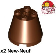 Lego - 2x Cone 3x3x2 axle hole axe brown/reddish brown 6233 NEW