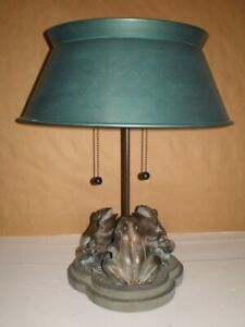 """FREDERICK COOPER """"SYMPHONY OF FROGS"""" 2 SWITCH/BULB BRONZE METAL TABLE LAMP"""
