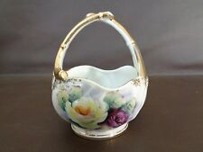 Mid-century Hand Painted Miniature China Basket Made in Japan (Cat.#1A035)