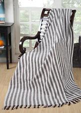 Large BROWN & NATURAL STRIPE 100% Cotton Sofa / Bed Throw 153x229cm