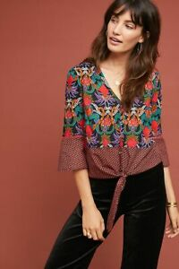 Maeve Anthropologie Carter Bedruckt Bluse Oberteil Button-Down Bauer Boho XS