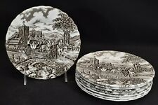 Myott Staffordshire Royal Mail Brown Set of 8 Bread & Butter Plates (Faults)