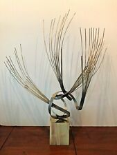 CURTIS JERE Mid Century Brutalist Abstract Brass Sculpture Onyx Base