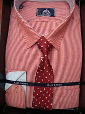RAELBROOK Rosso a Righe con Scatola Camicia e Cravatta 45.7cm 47cm 48.3cm 49.5cm