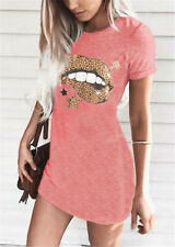 Women Short Sleeve Mini Dress Long T-Shirt Ladies Summer Casual Dress Top Dress