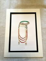 1967 Vintage Print Mongolian Jewels Jewelry Ornate Ethnic Coral Beads Silver