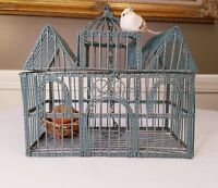 "Vintage Metal Wire Hinged Top Retro Bird Cage 9.5"" Tall ~ HOME DECOR~ FREE SHIP~"