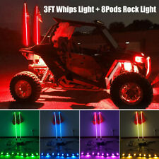 3FT LED Whip lights+ 8 Pods RGB Rock Lights Underglow For Jeep Truck Offroad UTV