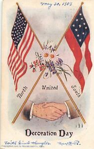 H77/ Patriotic Postcard c1910 Decoration Day Flags United North & South 131