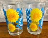 Vintage Daisy Retro Yellow and Blue Drinking Glasses Set of 2 Mid Century Modern