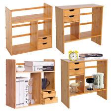 Bamboo Desktop Shelf Wood Caddy Organizer Tabletop Storage Bookcase Stand Rack