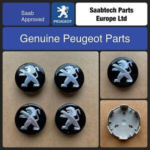 GENUINE PEUGEOT-ALLOY WHEEL CENTER CAP x 4 60MM GLOSS BLACK & CHROME 1622961980