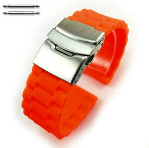 Orange Rubber Silicone Replacement Watch Band Strap Double Locking Buckle #4094