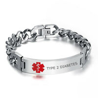 Medical Alert Stainless Steel Men Bracelet Bangle Link Engraved TYPE 2 DIABETES