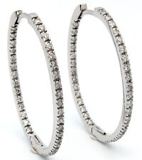 14K WHITE GOLD DIAMOND OVAL IN AND OUT HOOP EARRINGS GH/SI 1.22CT AGI CERTIFIED