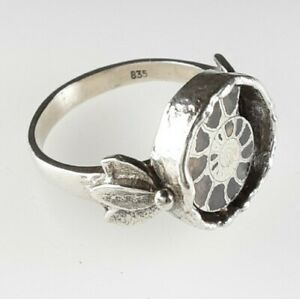 Designer Ammonit Fossil Ring 835 Silber Modernist Vintage Edelstein 💎