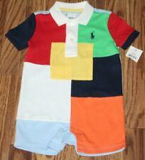 NWT Baby RALPH LAUREN Short Sleeve  Color Block Pony One Piece Romper Sz 12 Mos
