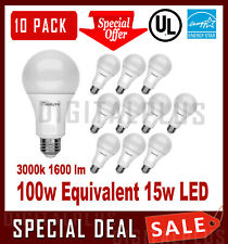 10 Pack LED Light Bulbs MAXLITE 15W 1600L Warm White 3000K A19 E26 Non-Dimmable
