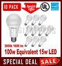 10 Pack LED Light Bulbs MAXLITE 15W 1600L Warm White 3000K A19 E26 Non-Dimmable