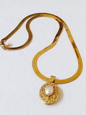 Park Lane gold tone metal flexible herringbone link pearl faux locket Necklace