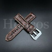 24MM Vintage Brown Leather Alligator Watch Strap Fits For Panerai Engraved Clasp