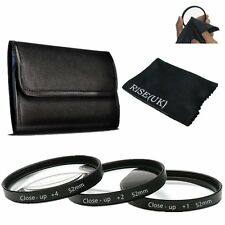 RISE(UK) 52mm Macro Close-Up Filter Set +1 +2 +4+ Pouch for Nikon Canon Sony