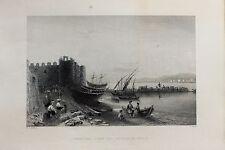 Tortosa-Ruad-Syria-Middle East : c.1840 Antique B/W Print Steel Engraving