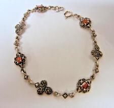 Vintage Bohemian Sterling Silver Garnet Bracelet