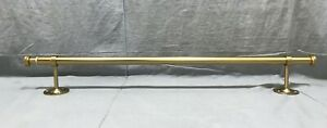 "Pottery Barn PB Teen Brass Classic 28-48"" Curtain Drape Rod+Endcap Finials"