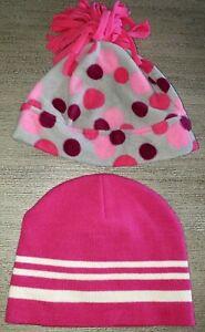 2 GIRLS winter HATS 1 HANNA ANDERSSON fleece POLKA DOT medium KNIT STRIPES 10/12