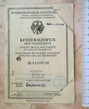 1972 PASS KINDERAUSWEIS AUSWEIS CHILD INVALID PASSPORT GERMAN TRAVEL GREECE VISA