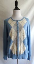 Talbots Petite M Pure Italian Merino Wool Blue & Ivory Argyle Cardigan Sweater
