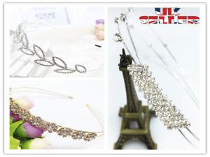 UK Women Girl Ladies Crystal Diamond Headwear Jewel Gems Headband  Hair Band  B