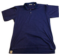 Peter Millar Striped Polo Golf Shirt Size L Blue w/ Pink Stripes