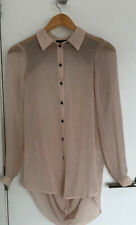 Warehouse Peach Shirt With Beaded Back: Size 8: NWT
