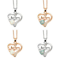 Elegant Heart Shaped Opal MOM Pendant Necklace Jewelry Love Gift Mother's Day US