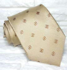 Cravatta uomo geometrica beige 100% seta Nuova Made in Italy handmade marca TRE