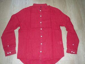 Levi Levis Levi's RedLoop Linen Shirt Long Sleeve Dark Red Regular Fit L  New