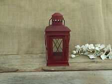 Red Metal Lantern Tea-Light Candle Holder ~ Wedding Holiday Centerpiece Decor