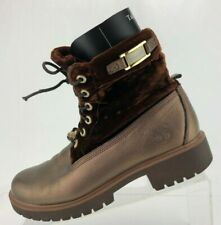 Timberland Roll Top Ankle Boots Brown Leather Lace Up Booties Womens Size 7.5 M