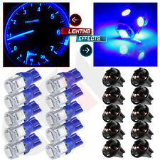 10x Speedometer Fuel Temp Gauges LED Light Bulbs T10 194 Blue 5050SMD W/Sockets