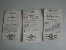 CHIX FOOTBALL BUBBLE GUM CARDS - PETER BROADBENT, JOHNNY NICHOLLS, PILKINGTON