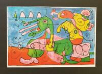 """Joan Miro """"At The Tsar's""""  Mounted offset Color Lithograph Limited ed 1972"""