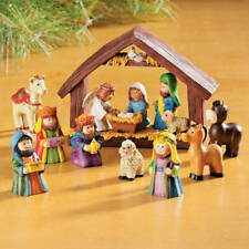 9 Piece Little Children Complete Tabletop Christmas Nativity Scene